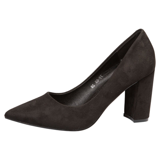 Connie Block Heel Court Shoes in Black Faux Suede