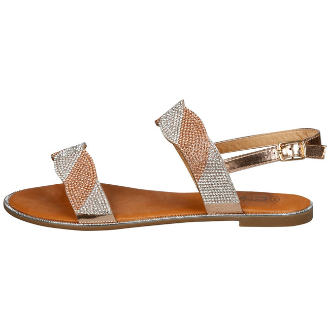 Meadow Diamante Stripe Sandals in Rose Gold