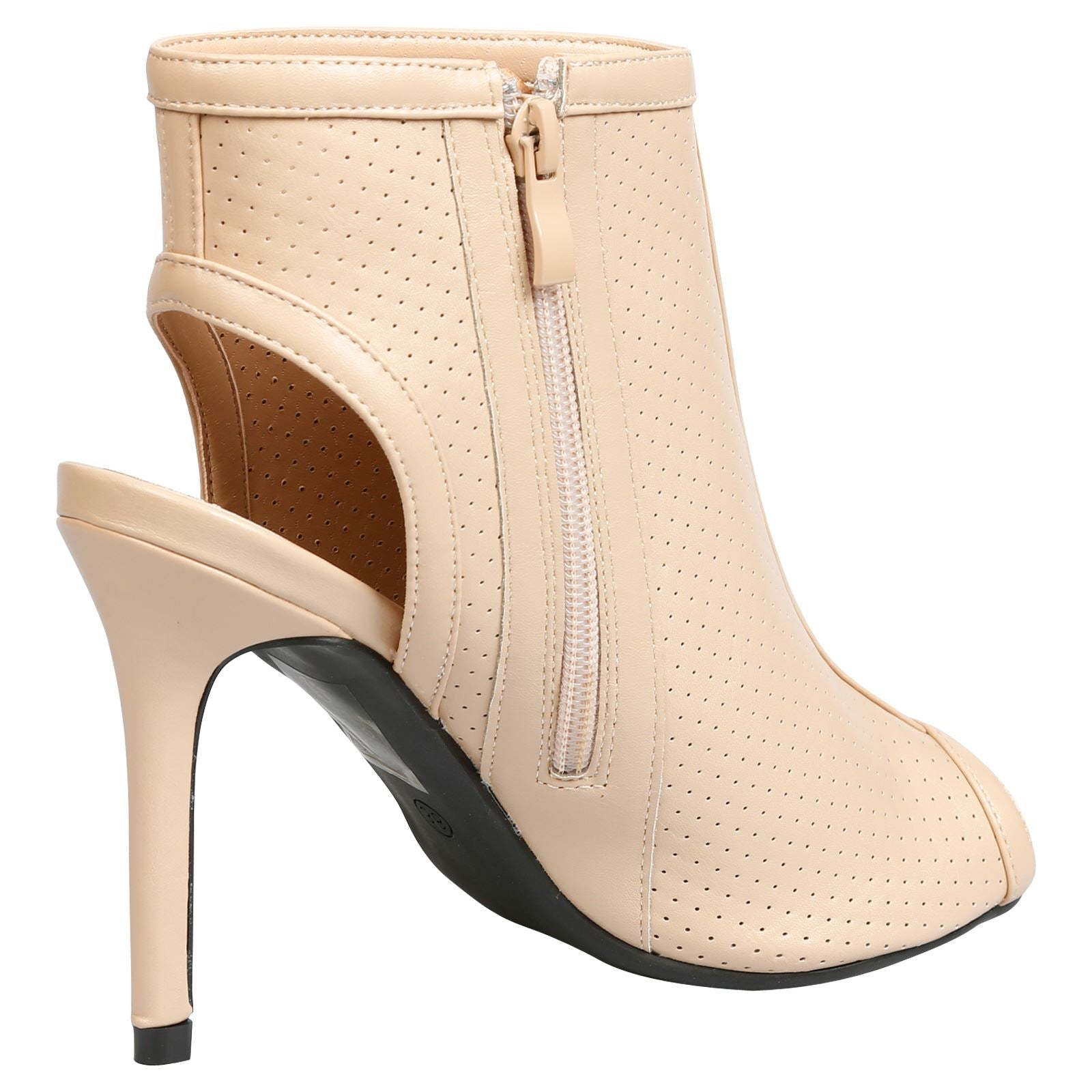 Eura Peep Toe Stiletto Ankle Boots in Nude Faux Leather