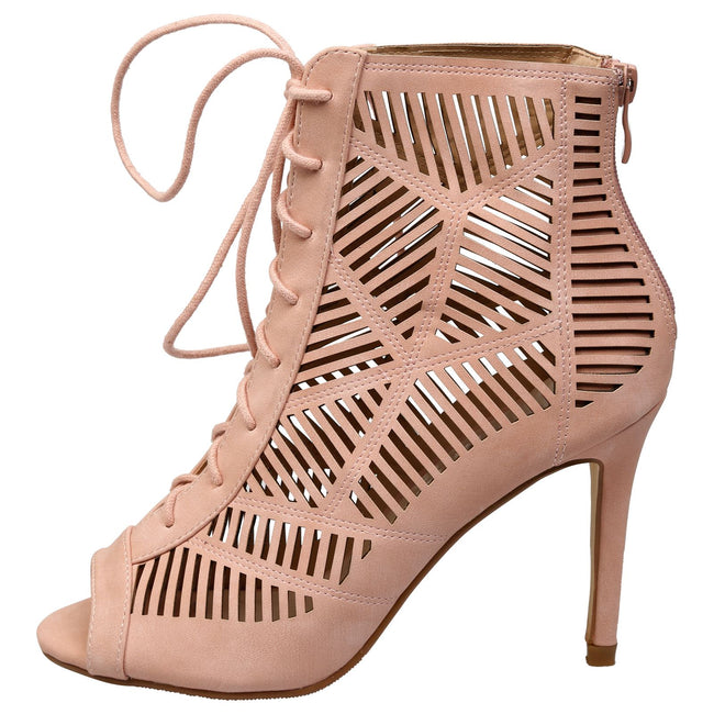 Anais Geometric Cut Out Ankle Boots in Pink