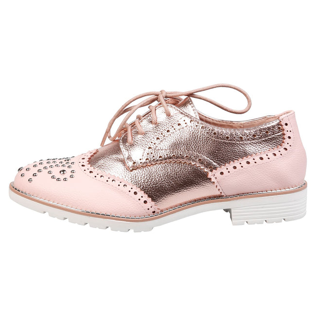 Vashti Two Tone Brogues in Pink & Rose Gold