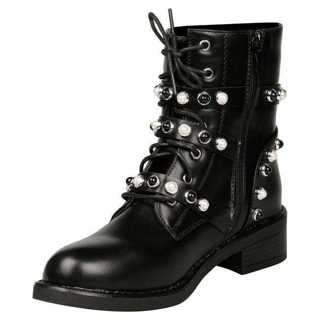 Abril Strappy Ankle Boots in Black with 3 Straps - Feet First Fashion