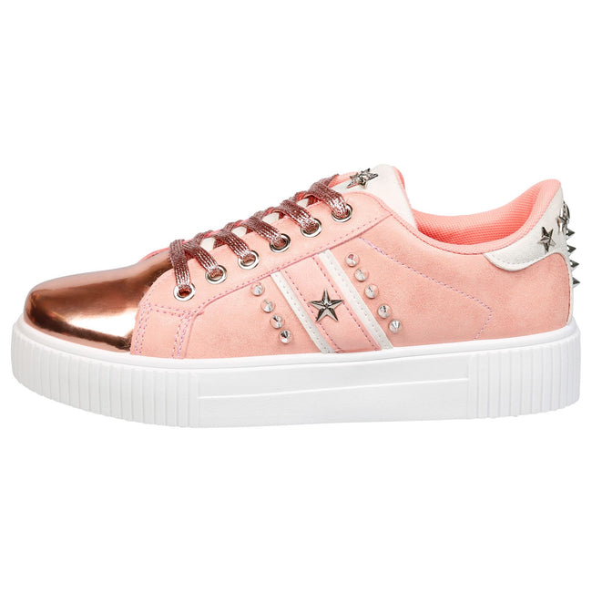 Imani Star Studded Trainers in Pink & Rose Gold