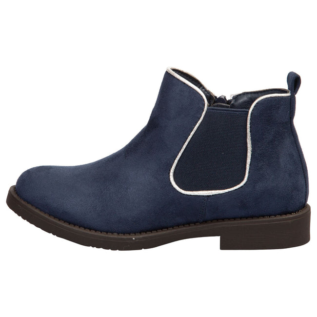 Serlena Girls Chelsea Ankle Boots in Blue Faux Suede - Feet First Fashion