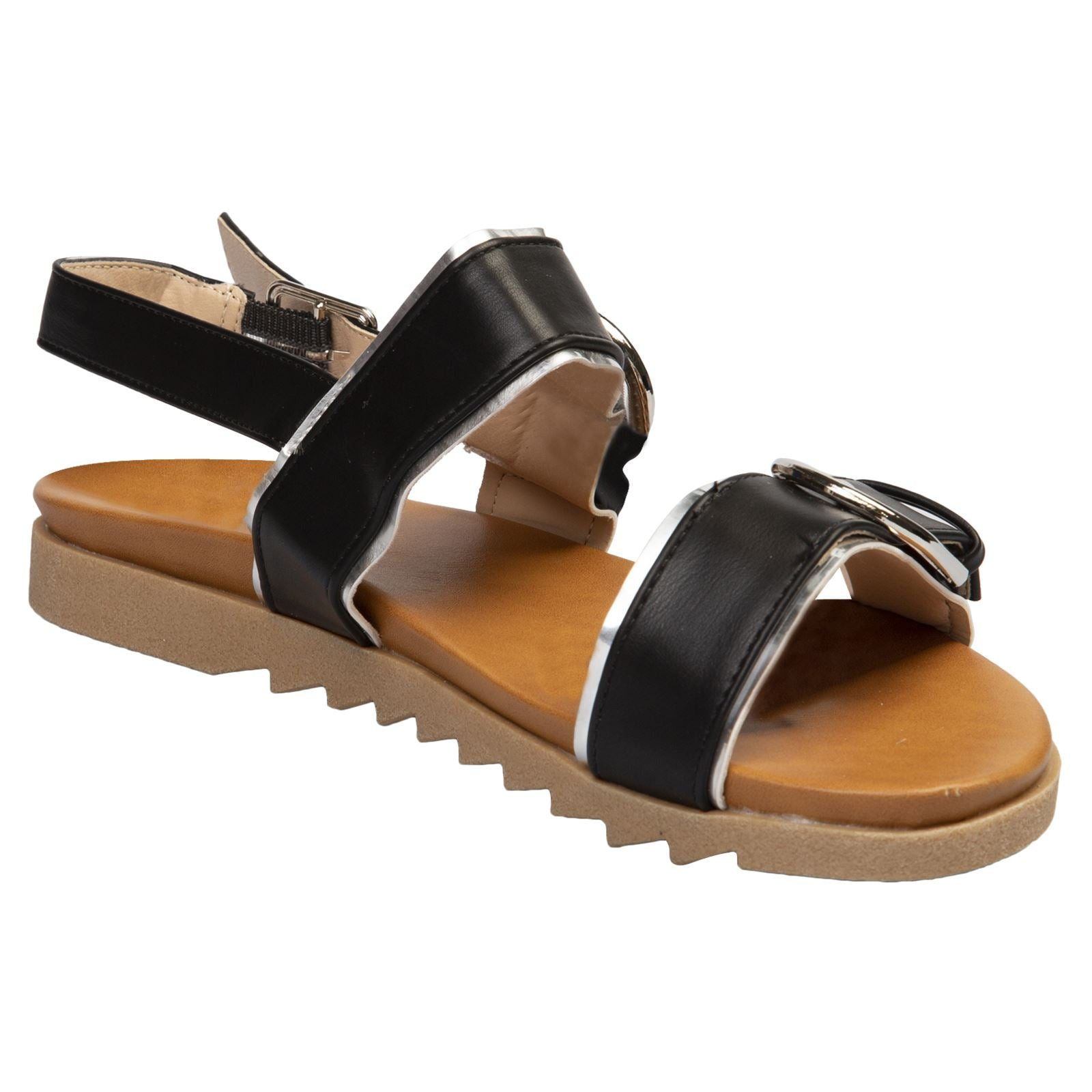 Alice Buckle Detail Sandals in Black Faux Leather - Feet First Fashion