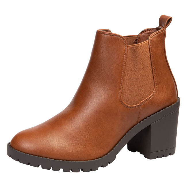 Amaya Block Heel Chelsea Boots in Camel Faux Leather - Feet First Fashion