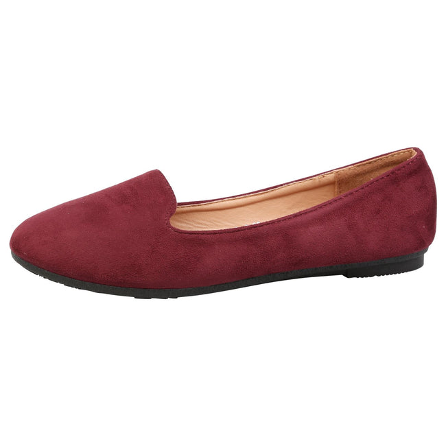 Antonia Loafer Flats in Wine Faux Suede