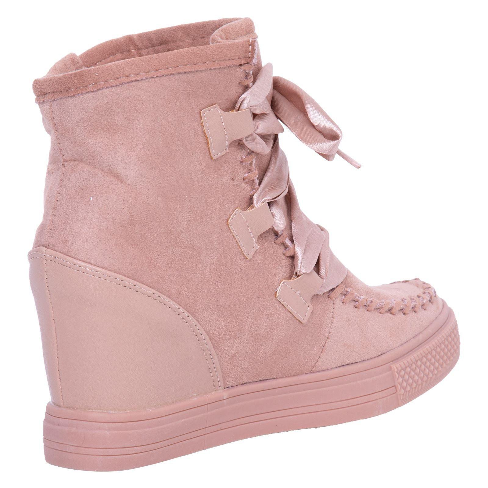 Kacee Stylish Wedge Trainers in Pink With Ribbon - Feet First Fashion