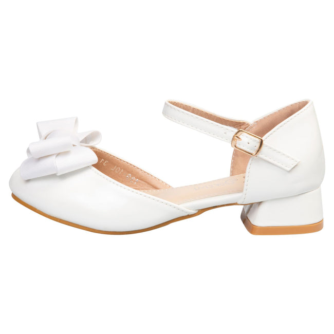 Kaelyn Girls Low Heel Shoes in White Patent - Feet First Fashion