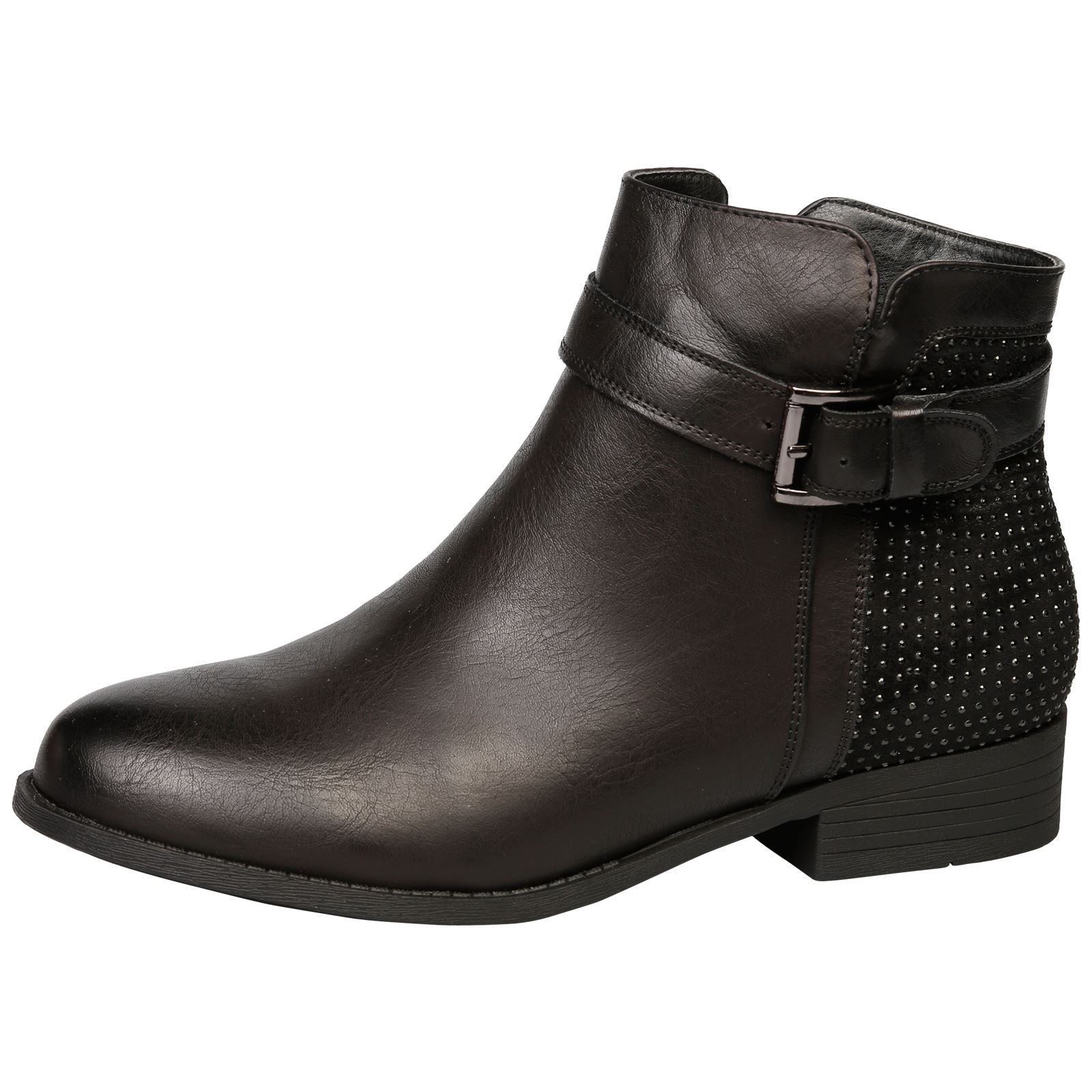 Amirah Diamante Ankle Boots in Black - Feet First Fashion
