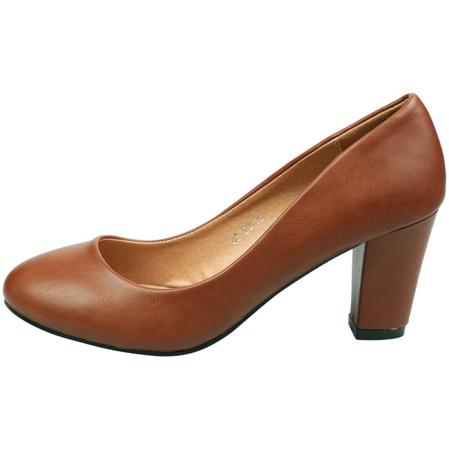 Reeva Block Heel Court Shoes in Camel Faux Leather