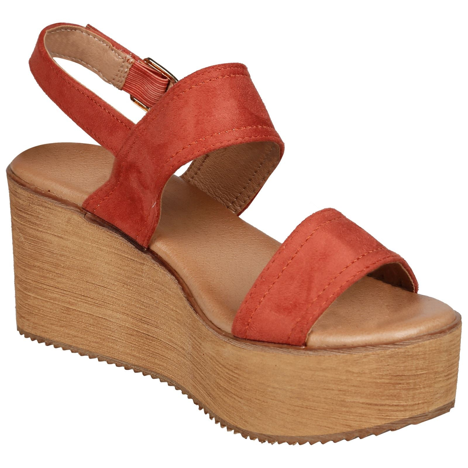 Darby Womens Platform Wedge Sandals in Orange Faux Suede