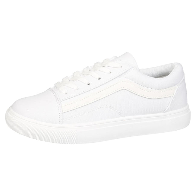Lauren Lace Up Stripe Canvas Trainers in White