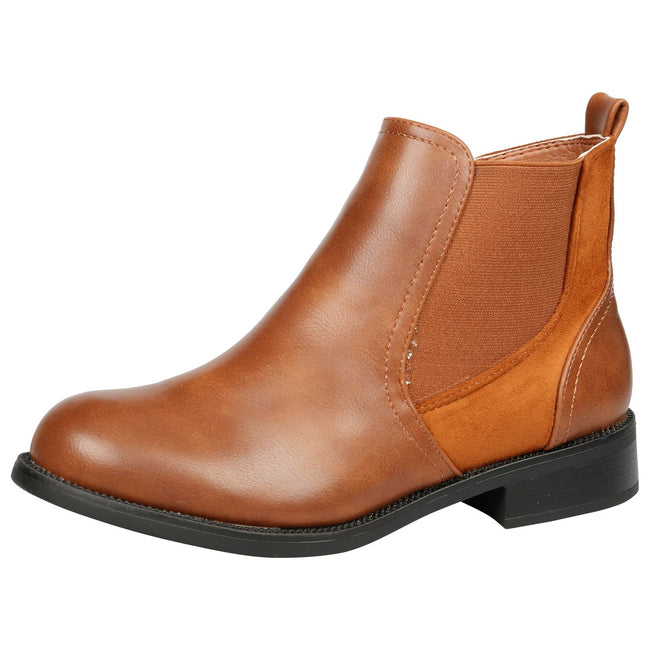 Elora Zip Up Chelsea Ankle Boots in Camel Faux Leather - Feet First Fashion