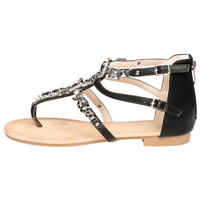 Celia Jewelled Flat Sandals in Black - Feet First Fashion