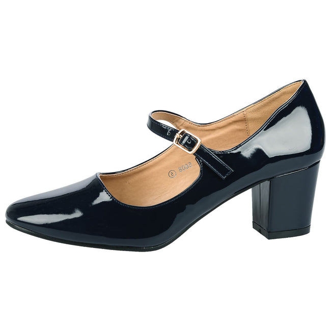 Xanthe Classic Block Heel Mary Janes in Navy Blue Patent