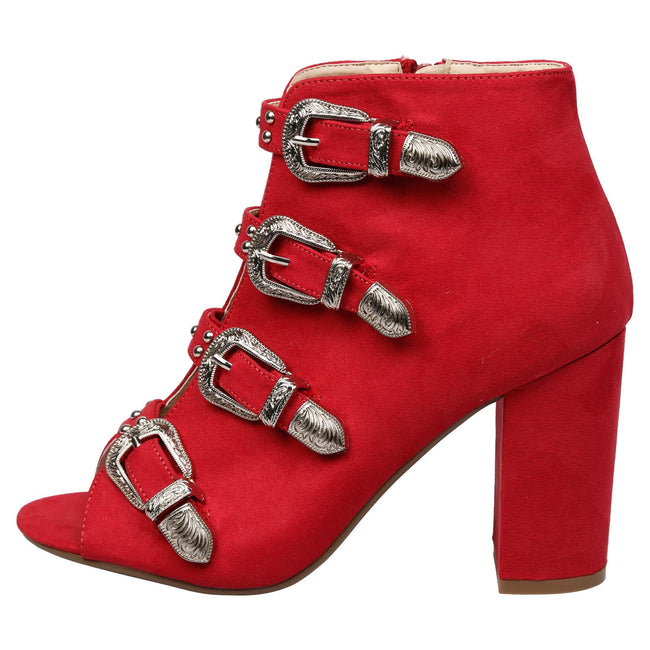 Nami Buckled Peep Toe Ankle Boots in Red Faux Suede