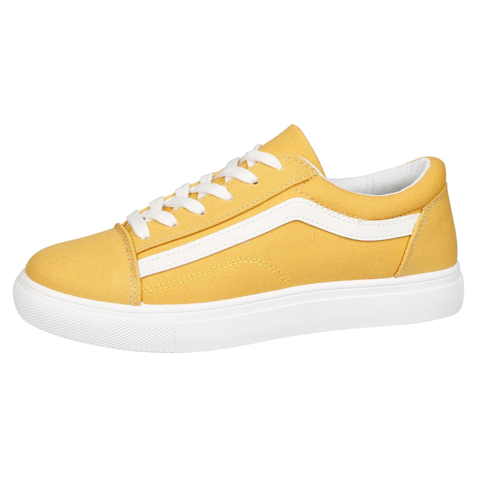 Lauren Lace Up Stripe Canvas Trainers in Yellow