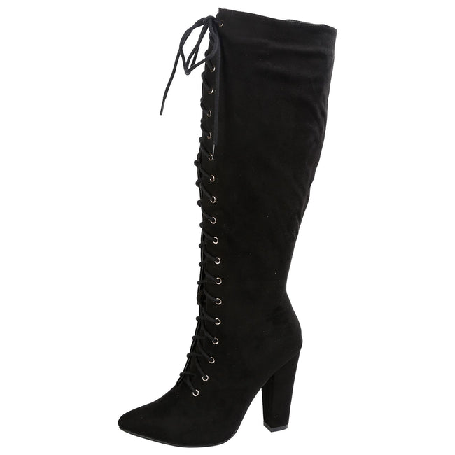 Peyton Pointed Toe Lace Up Mid Calf Boots in Black Faux Suede