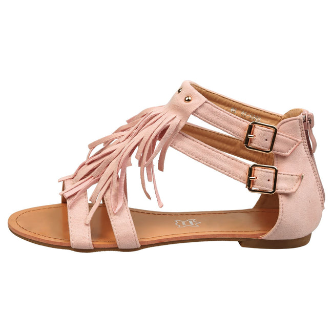 Penny Fringed T Bar Sandals in Pink Faux Suede