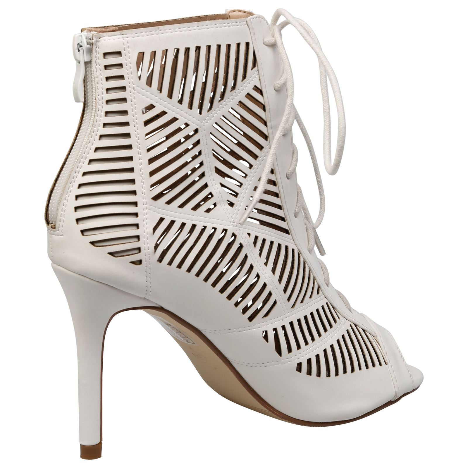 Anais Geometric Cut Out Ankle Boots in White