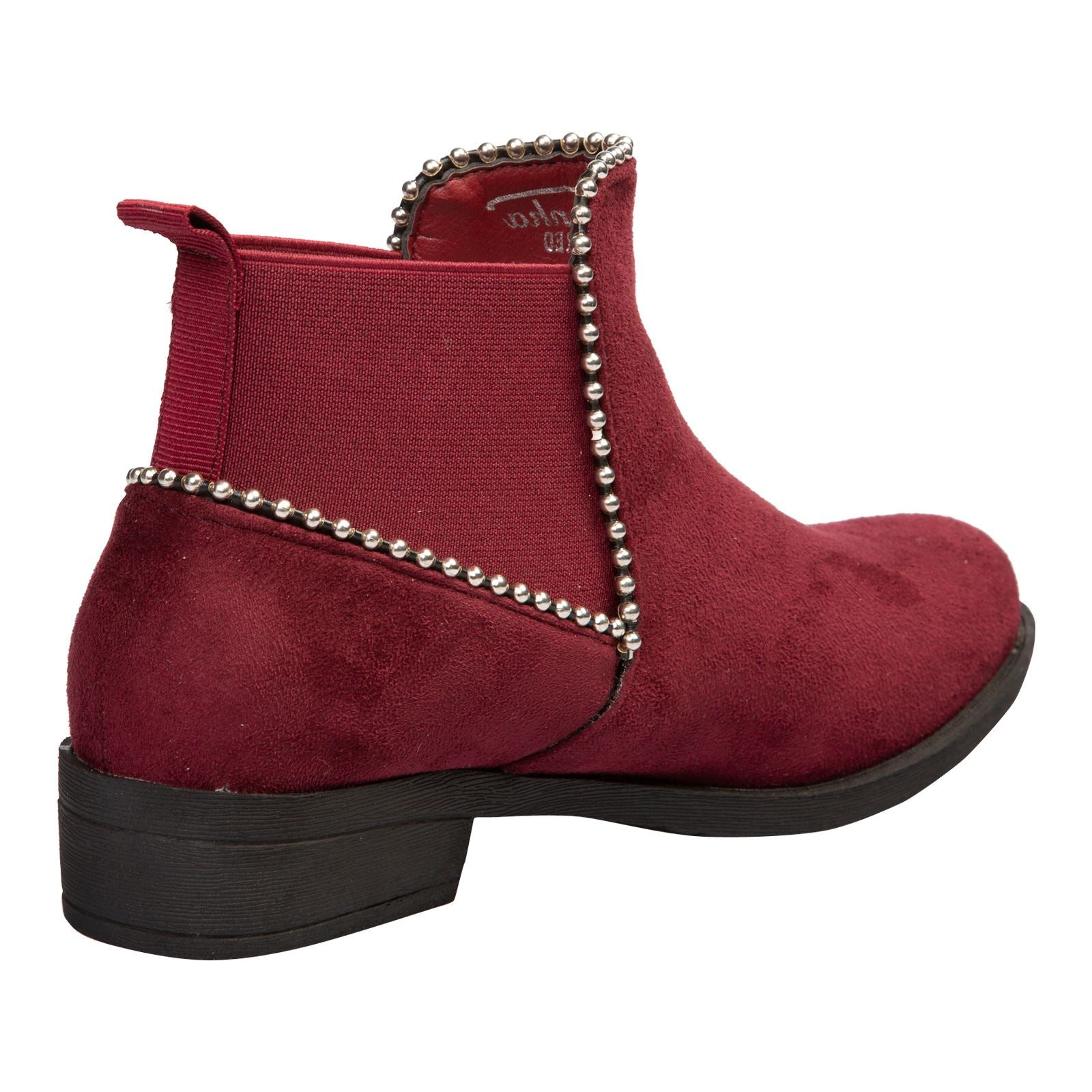 in Wine Red Faux Suede