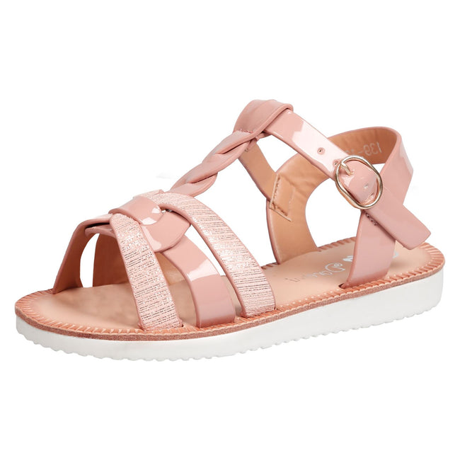 Yumi Girls Two Tone Strappy Sandals in Pink Patent - Feet First Fashion