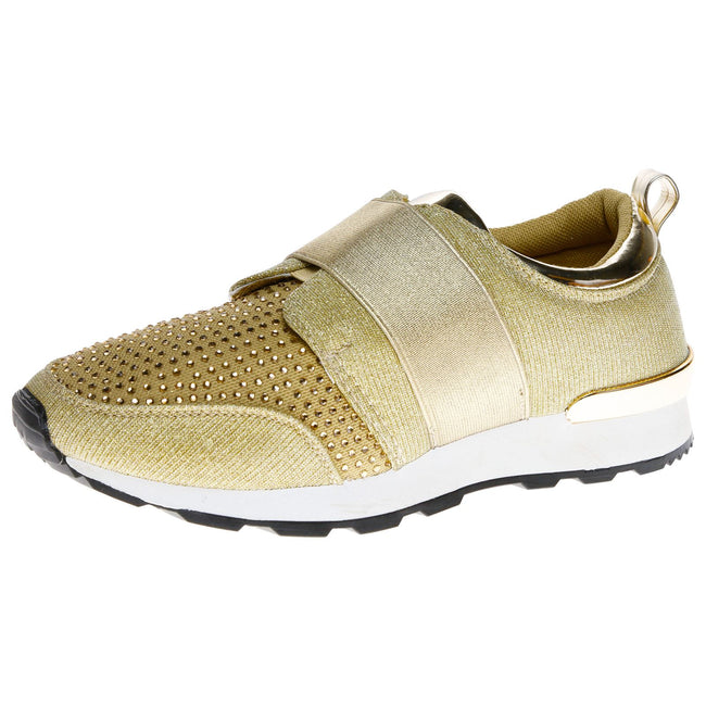 Isabelle Diamante Slip On Trainers in Gold