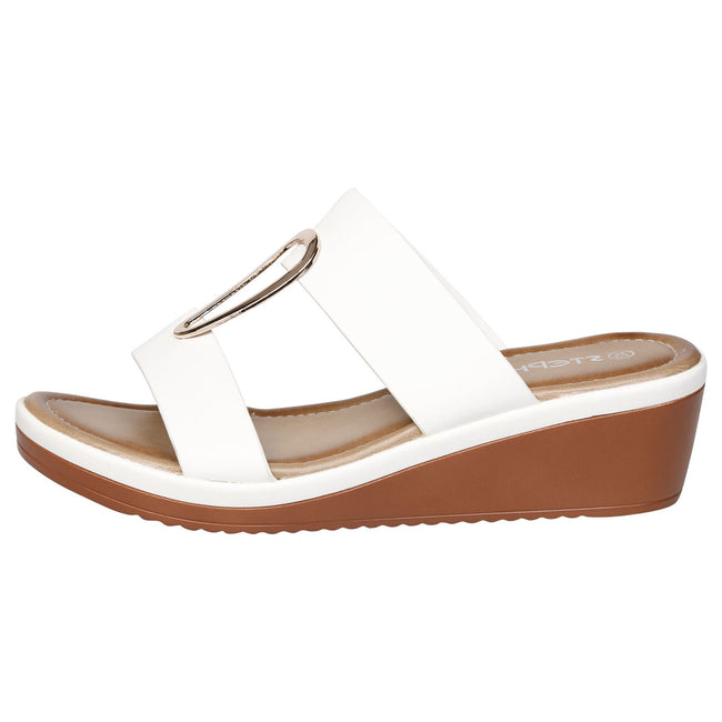 Maude Large Size Wedge Sandals in White Faux Leather - Feet First Fashion