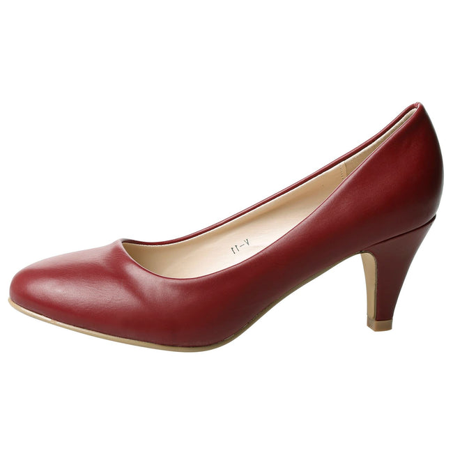 Leona Mid Heel Court Shoes in Wine Red Faux Leather