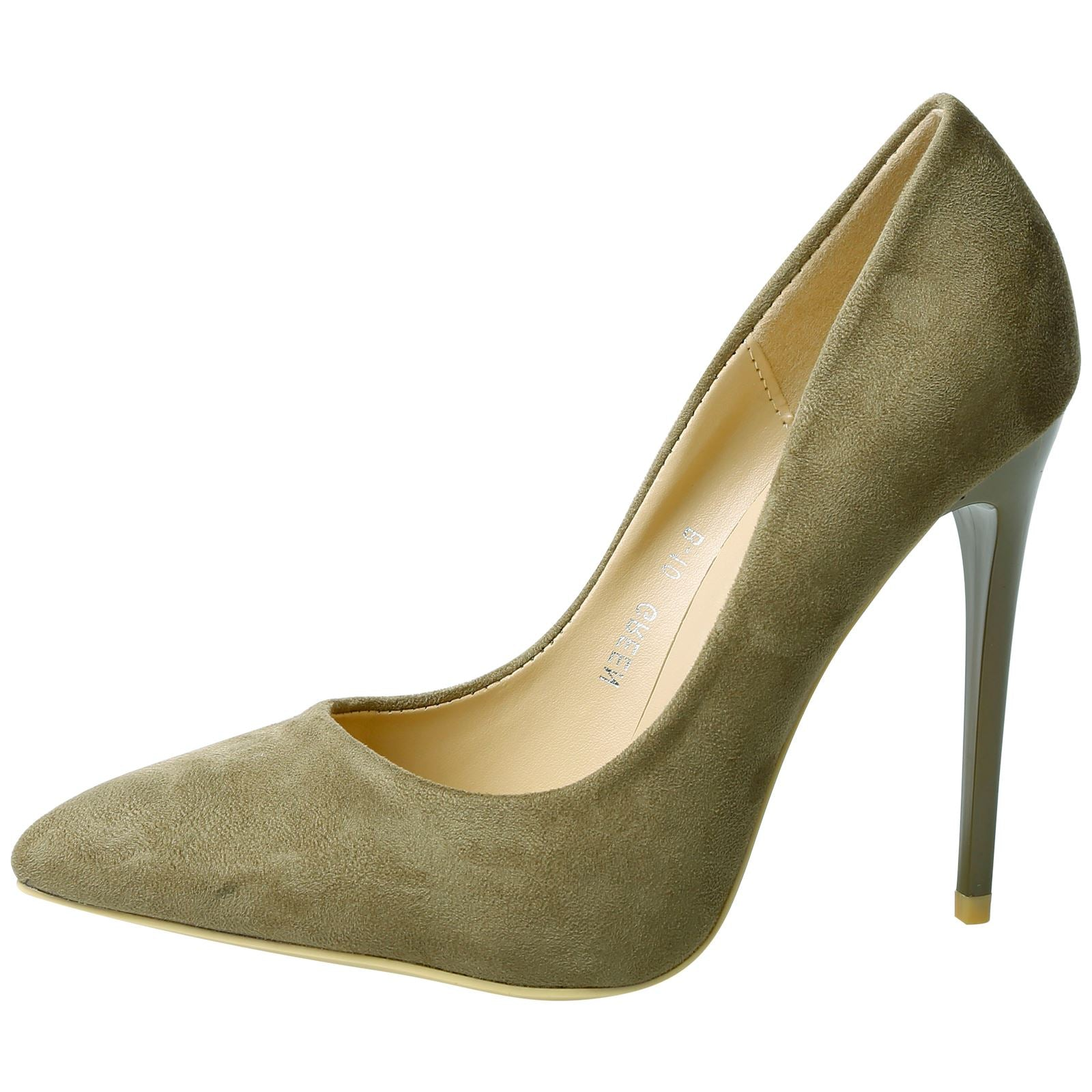 Danita Stiletto Heel Court Shoes in Olive Green Faux Suede