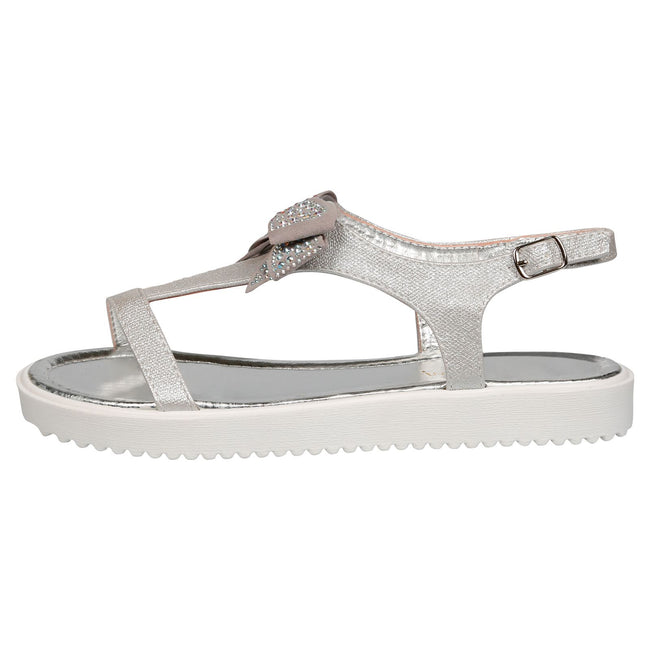 Shannon Girls Textured T-Bar Bow Sandals in Silver - Feet First Fashion
