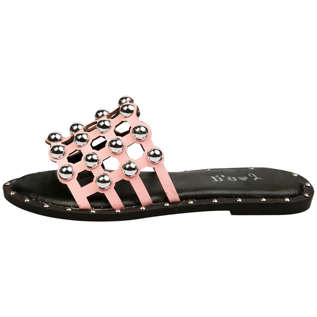 Carolyn Studded Sliders in Pink Faux Leather