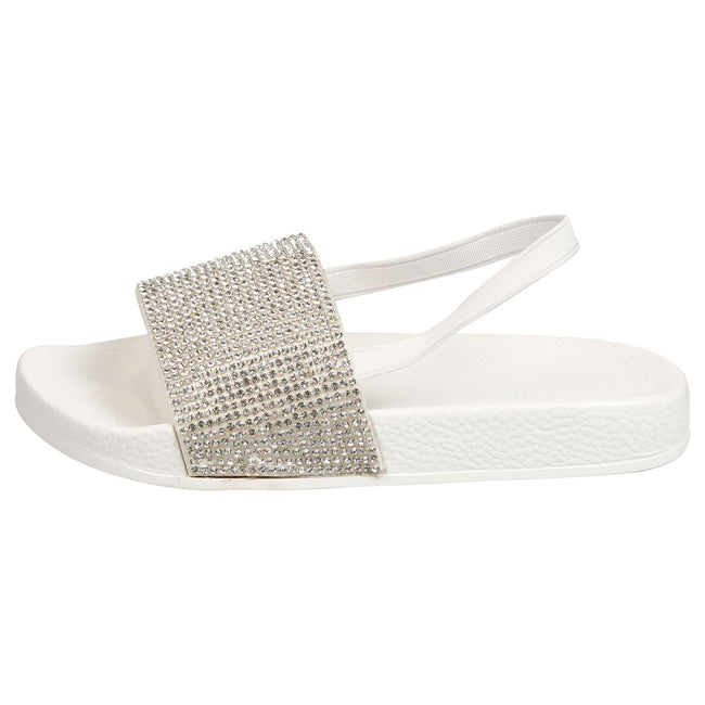 Sue Girls Elasticated Diamante Sliders in White - Feet First Fashion