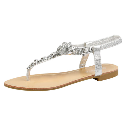Abigail Diamante T-Bar Sandals in Gold