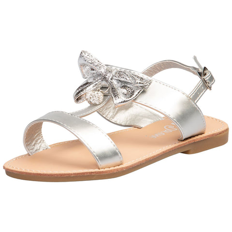 Larissa Girls Satin Bow Detail Gladiator Sandals in Pink Faux Leather