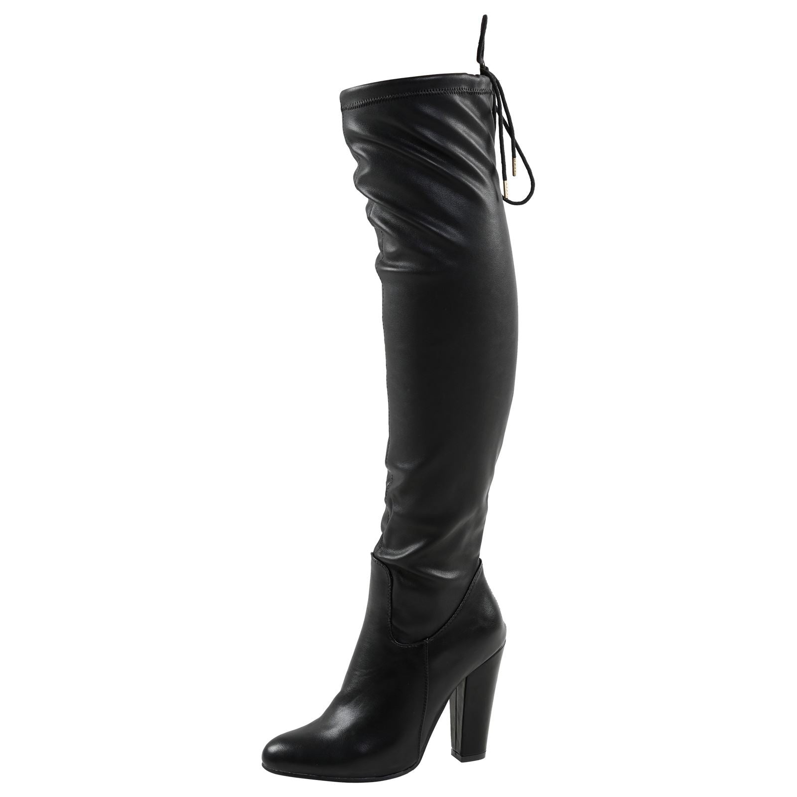 Cathy Tie Top Over the Knee Boots in Black Faux Leather