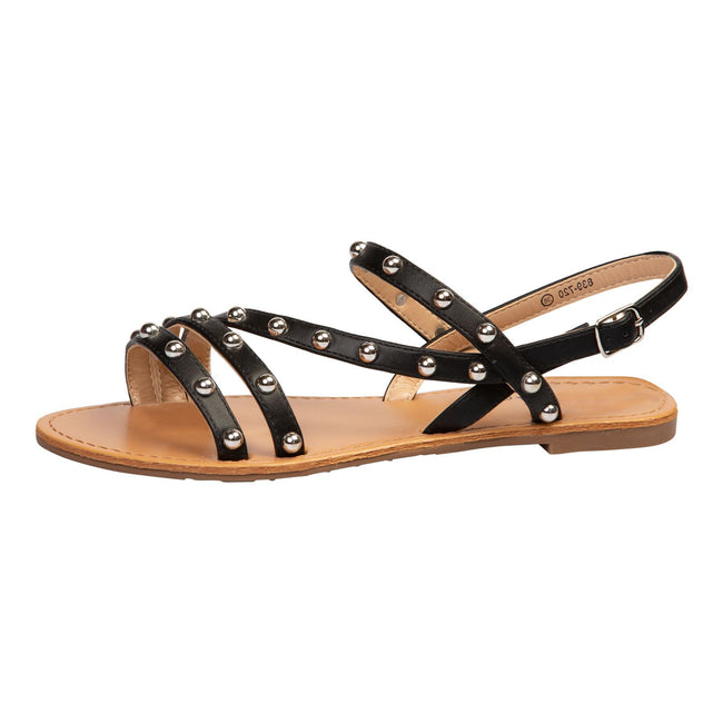 Winnifred Flat Studded Sandals in Black - Feet First Fashion