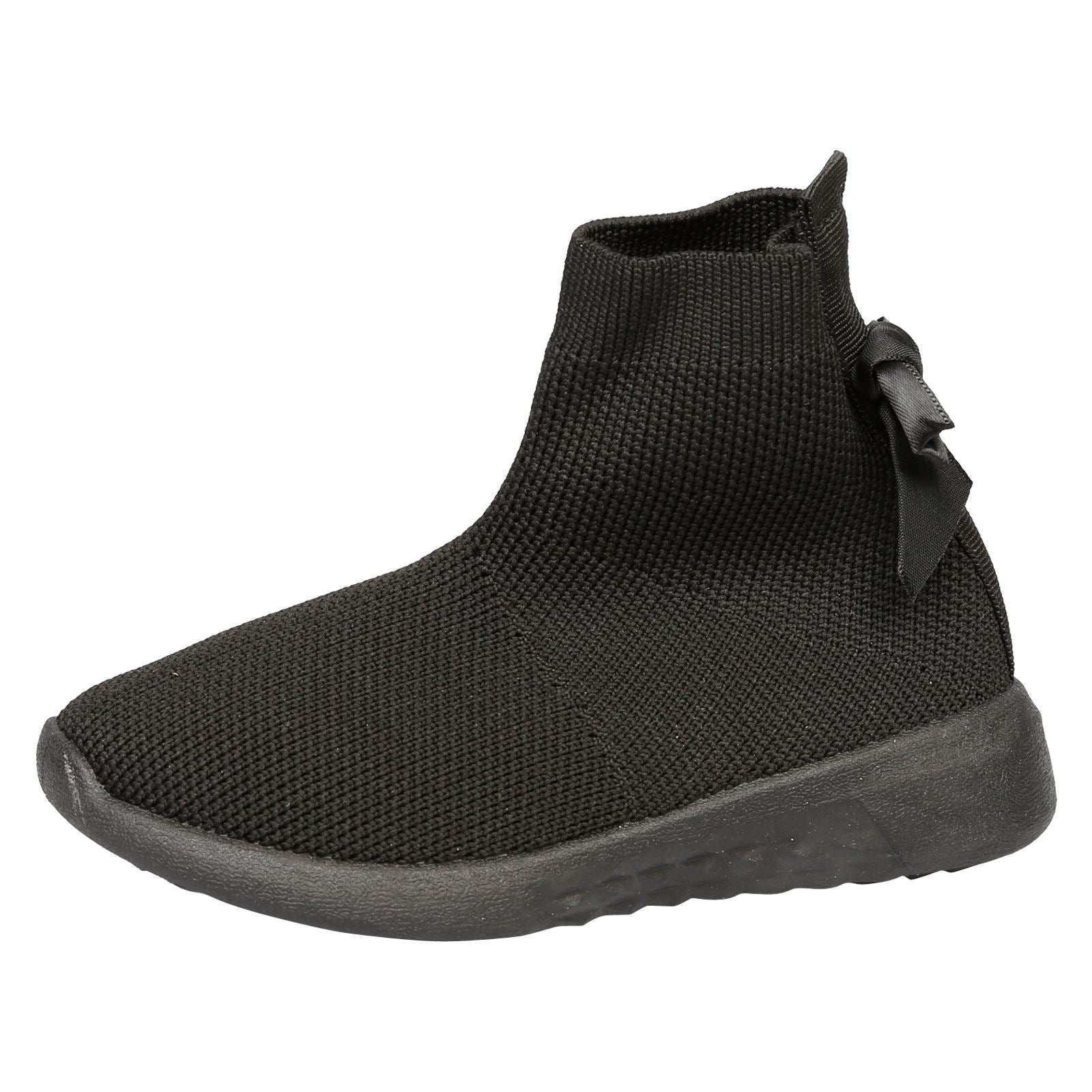 Amia Girls Knit Trainer Boots in Black - Feet First Fashion