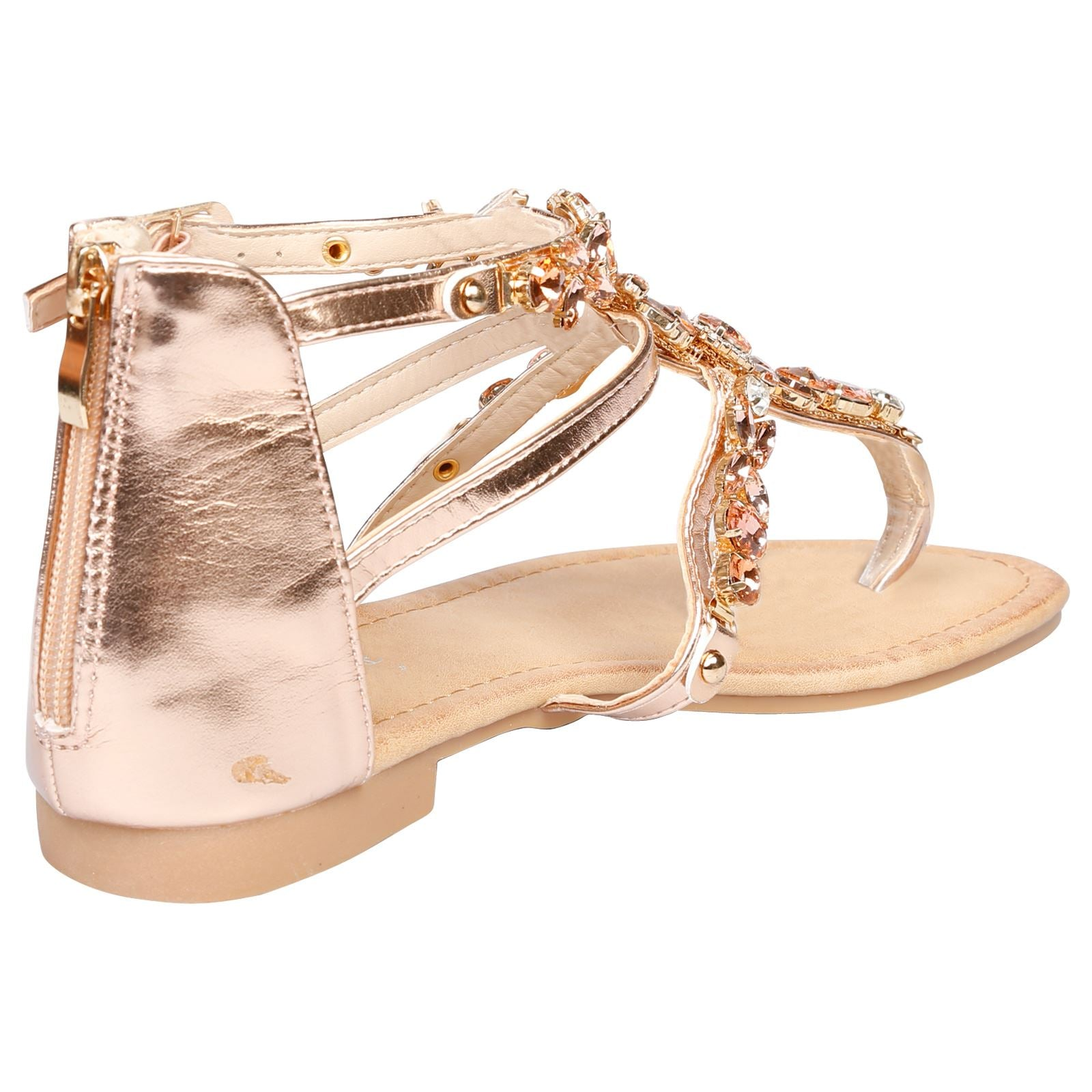Celia Jewelled Flat Sandals in Rose Gold - Feet First Fashion