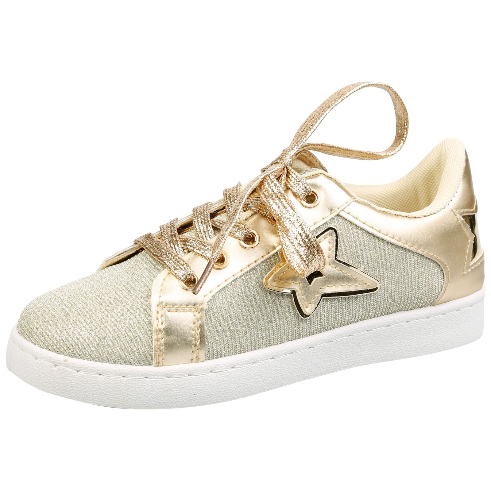 Liberty Girls Lace Up Star Trainers in Gold - Feet First Fashion
