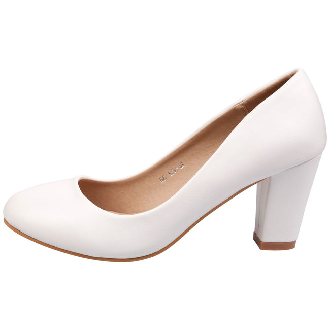 Reeva Block Heel Court Shoes in White Faux Leather