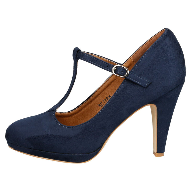 Milena Heeled T- Strap Pumps in Navy Blue Faux Suede