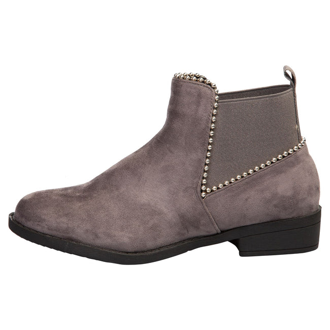 Presley Chelsea Boots in Grey Faux Suede