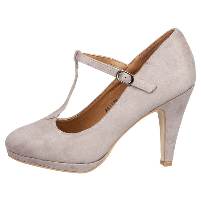 Milena Heeled T- Strap Pumps in Grey Faux Suede - Feet First Fashion