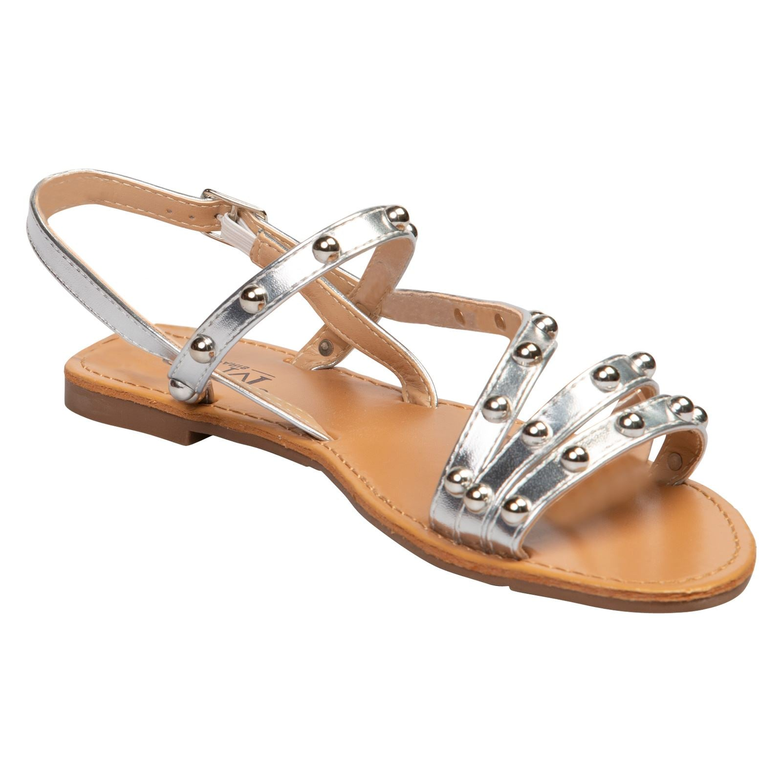 Winnifred Flat Studded Sandals in Silver - Feet First Fashion
