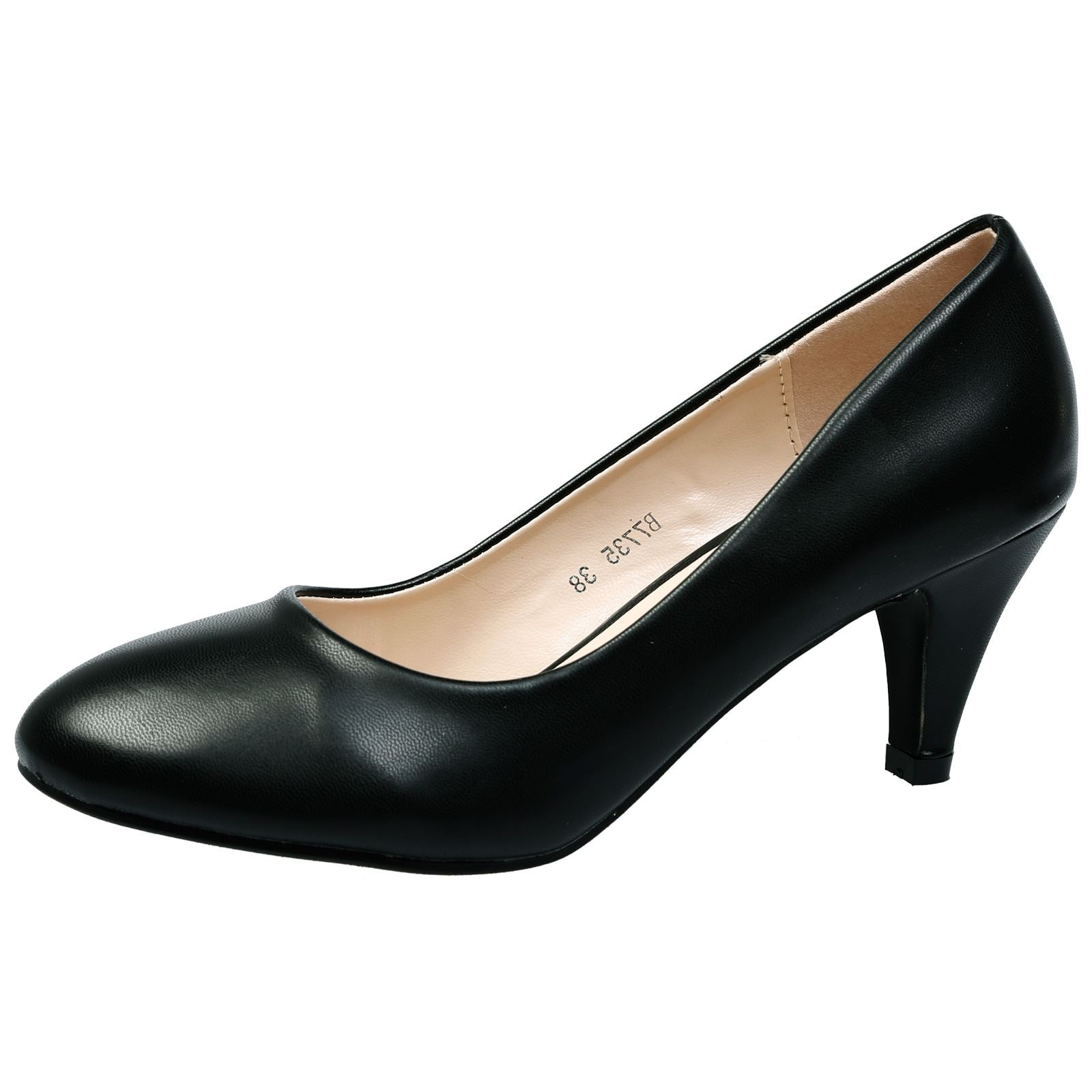 Leona Mid Heel Court Shoes in Black Faux Leather