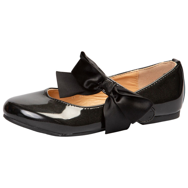 Zaniyah Girls Bow Detail Mary Janes in Black Patent - Feet First Fashion
