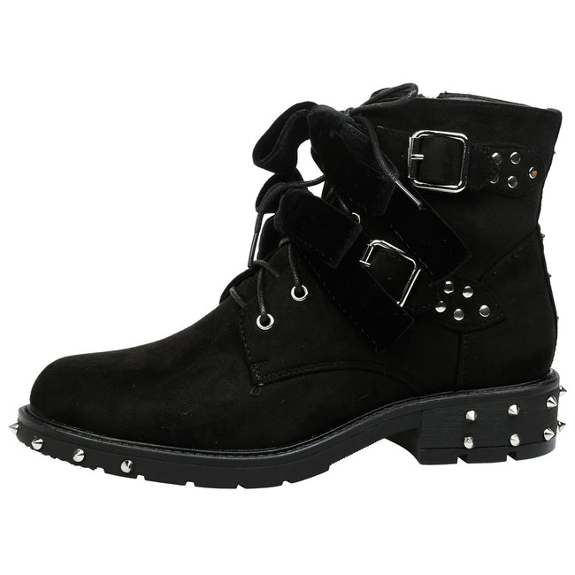 Heather Studded Biker Ankle Boots in Black Faux Suede