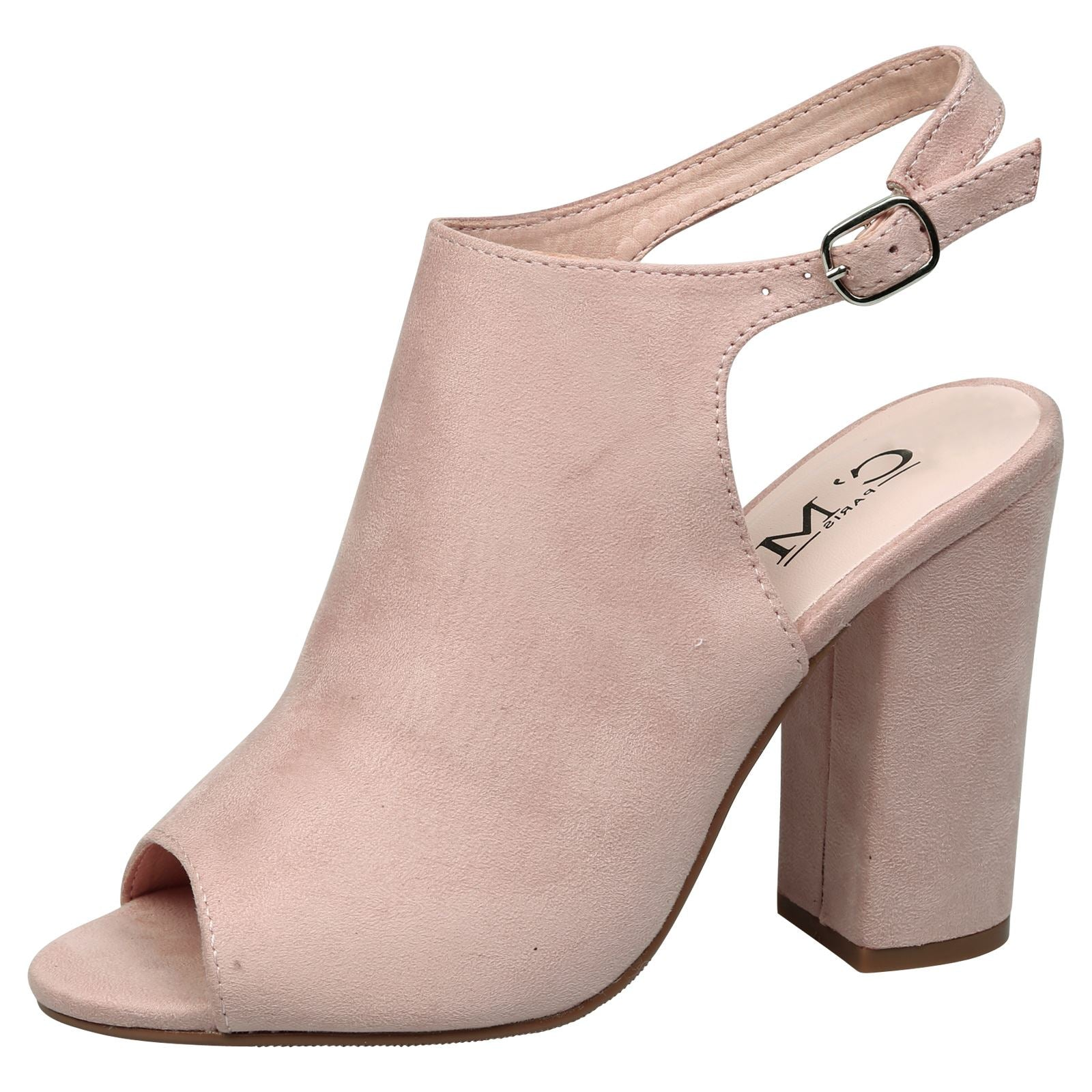 Felicia Slingback Peep Toe Ankle Boots in Pink Faux Suede